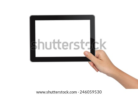 Female hand holding tablet pc isolated on white - stock photo