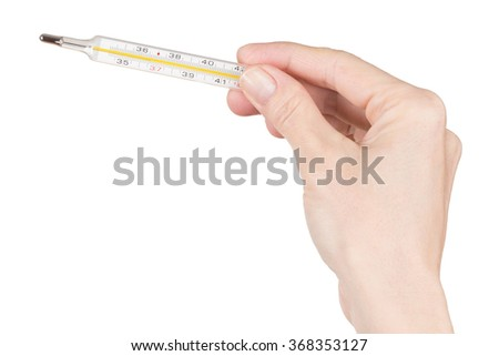 Female Hand holding thermometer over white
