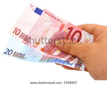 Female hand holding two euro notes isolated on white with clipping path