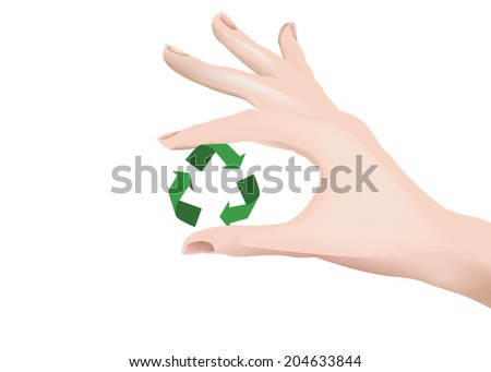 female hand holding up the recycling symbol - stock photo