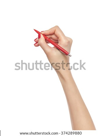 Female hand holds red pen. Isolated on white background.