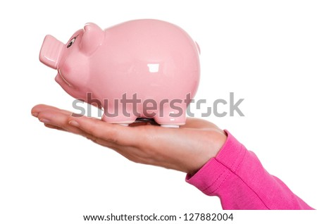 Female hand is holding a pink piggy bank - stock photo
