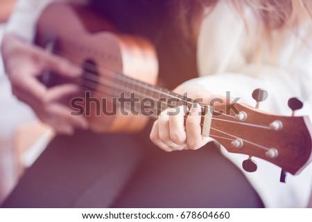 Female Hand Learning Play Ukulele Chords Stock Photo Royalty Free