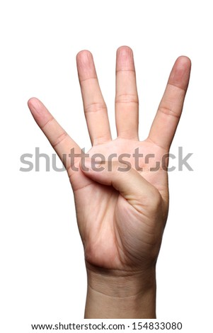 female hand is showing four fingers isolated on white background - stock photo