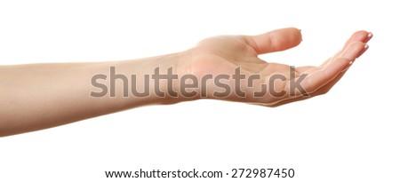 Female hand isolated on white - stock photo