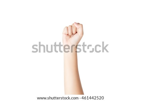 Female hand isolated on white background with clipping path