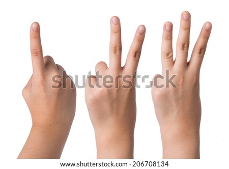 Female hand  isolated on white ,number one two three sign
