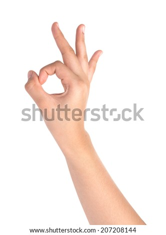Female hand  isolated on white ,Okay sign