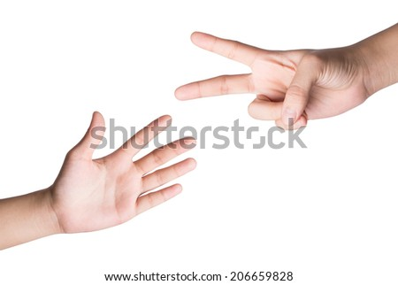 Female hand  isolated on white , roshambo sign