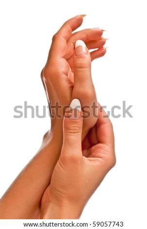 Female hand isolated on white. Studio shot - stock photo