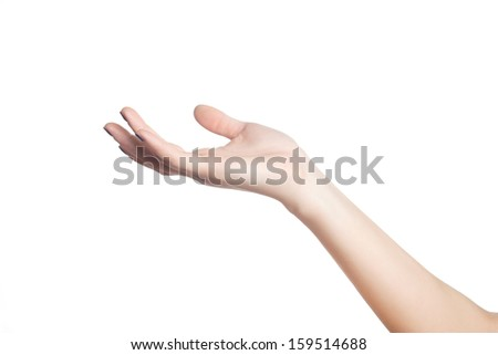 Female hand on a white background - stock photo