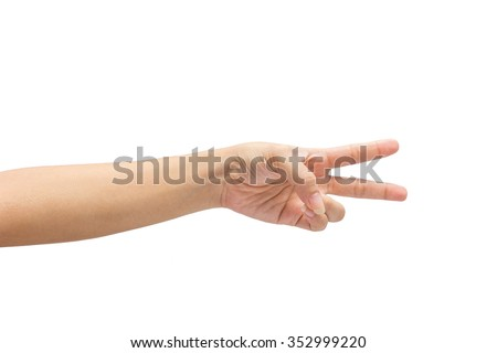 female hand on the isolated on white background