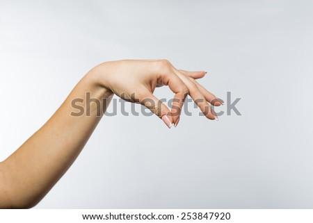 Female hand on white background - stock photo