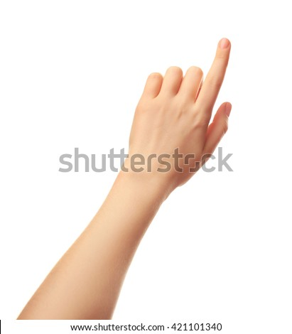 Female hand on white background - stock photo