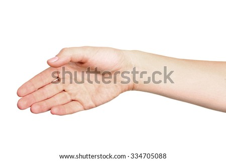 Female hand outstretched for a handshake, isolated on white.