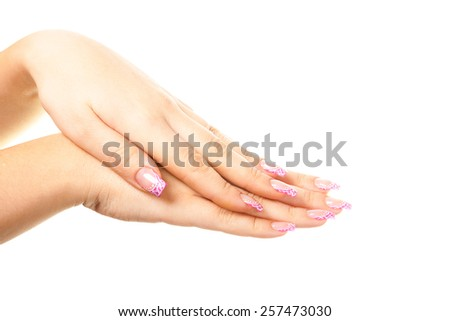 Female hand photographed on a white background isolated.