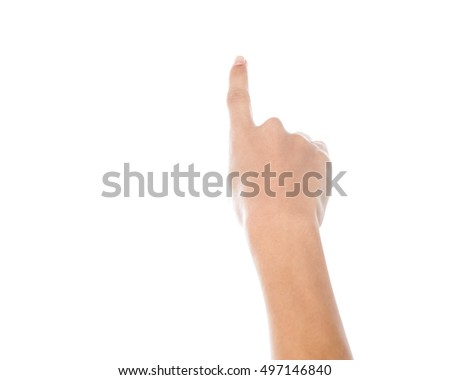 Female hand pointing at something