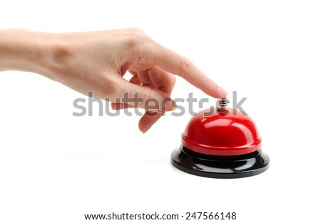 Female hand presses the red call. Isolate on white. - stock photo