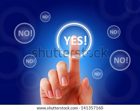 Female hand pressing yes button. - stock photo