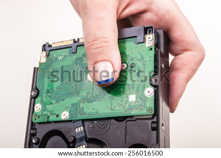 Female hand showing a Hard Drive on white - stock photo