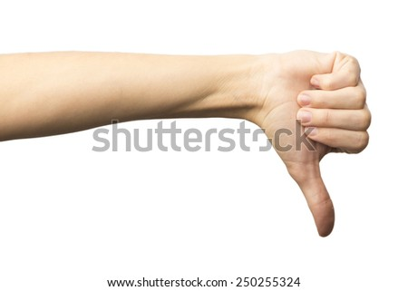 Female hand showing a thumb down gesture. Isolated on white background. Dislike. Alpha. - stock photo