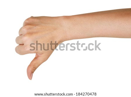 Female hand showing a thumbs down gesture. Isolated on white background. - stock photo