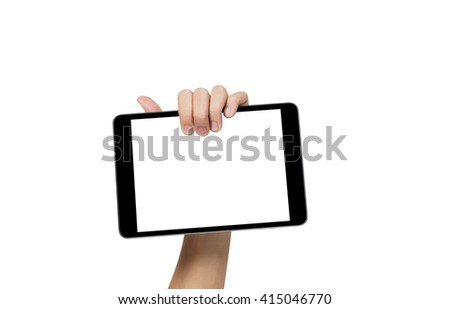 Female hand showing digital tablet, 3 clipping path for and and screen of tablet, isolated on white background - stock photo