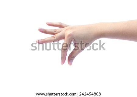 Female hand showing empty space for your choice on white background