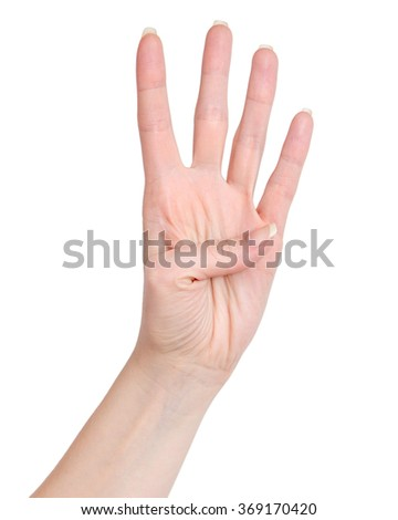 Female hand showing four count. four fingers - stock photo