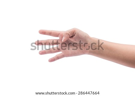 Female hand showing four fingers, Isolated on white background with clipping path