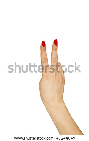 Female hand showing number two - stock photo