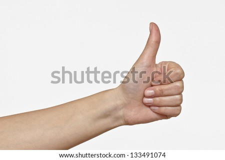 Female Hand showing OK sign. Isolated on white. Concept of success - stock photo