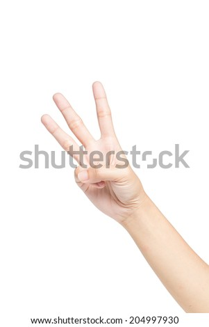 Female hand showing three fingers, Isolated on white background. - stock photo