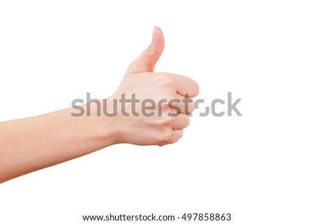 Female hand showing thumb up, ok, all right, victory hand sign gesture. Gestures and signs. Body language on white background
