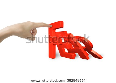 Female hand stopping domino of red fear word falling, isolated on white. Domino effect and problem solving of concepts.