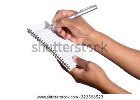 female hand taking notes
