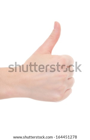 female hand thumbs up isolated on white background - stock photo