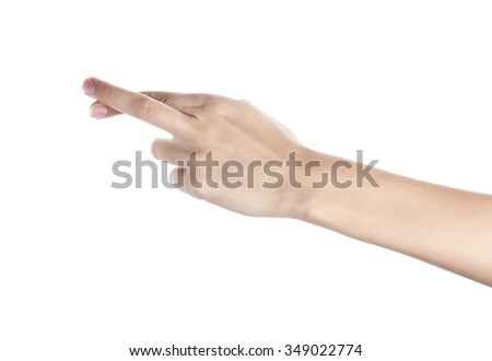 Female hand to create a collage, isolated on white