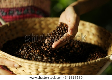 Female hand touching coffee beans in the basket