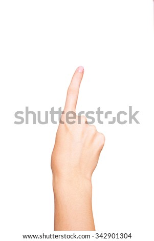 Female hand touching or pointing at something. Isolated on white background - stock photo