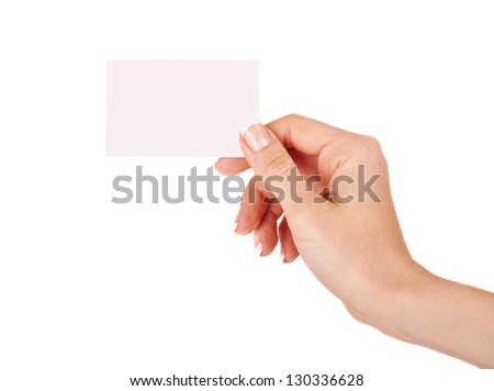 Female hand with a blank card isolated - stock photo