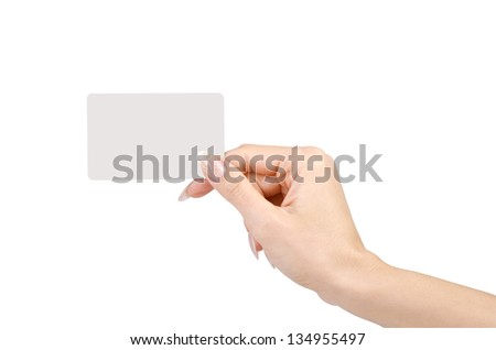 Female hand with a blank card isolated on white background.