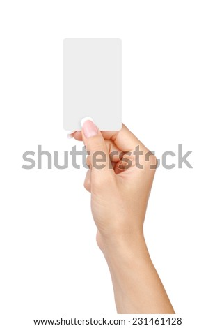 Female hand with a blank card isolated on white background. - stock photo