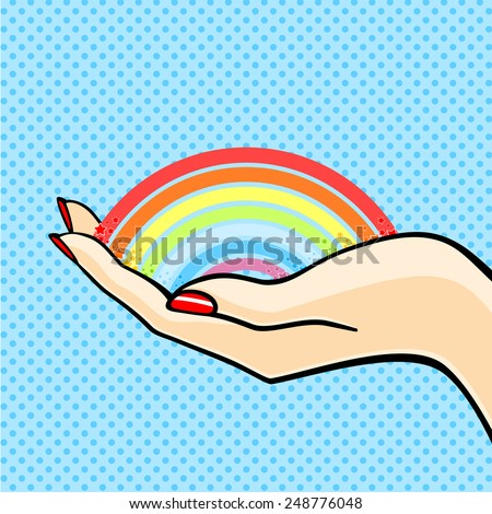 Female hand with a rainbow (raster version) - stock photo