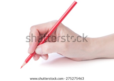 female hand with a red pencil over white