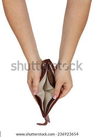 Female hand with an empty wallet isolated on white background - stock photo