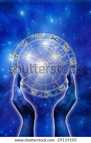 female hand with astrological horoscope over starry background - stock photo
