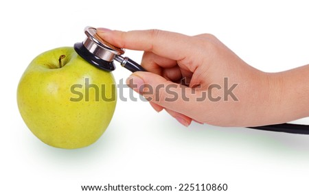 Female hand with blood pressure meter on green apple isolated on white background