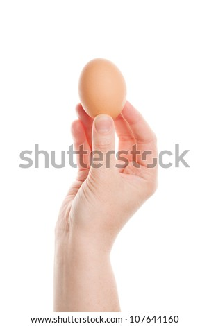 Female hand with brown egg isolated on white background - stock photo