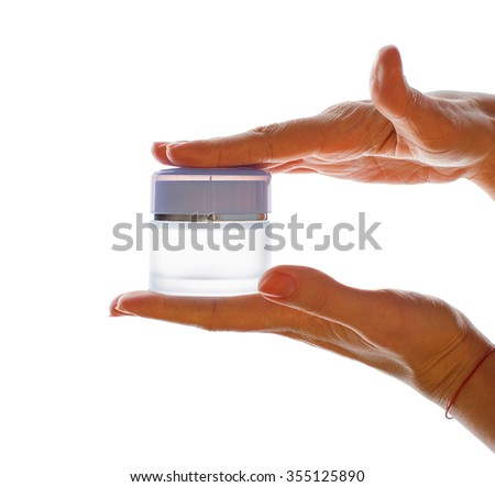 Female hand with cream